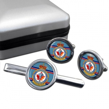 413 Squadron RCAF Round Cufflink and Tie Clip Set