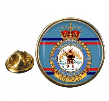 418 Squadron RCAF Round Pin Badge