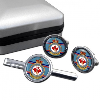 447 Squadron RCAF Round Cufflink and Tie Clip Set