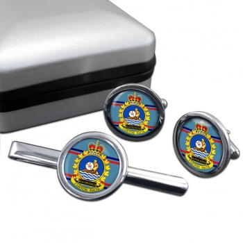 CFS Beaverlodge RCAF Round Cufflink and Tie Clip Set