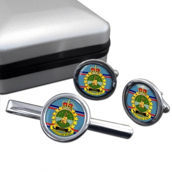 CFS Sioux Lookout RCAF Round Cufflink and Tie Clip Set