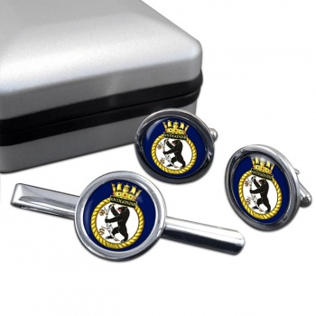 HMCS Antigonish Round Cufflink and Tie Clip Set