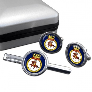 HMCS Athabaskan Round Cufflink and Tie Clip Set