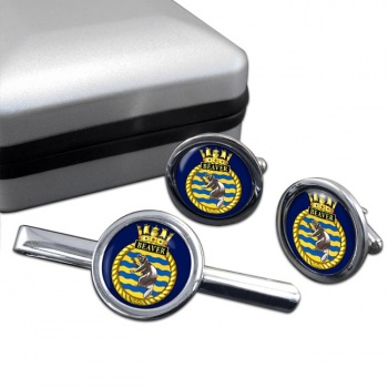 HMCS Beaver Round Cufflink and Tie Clip Set