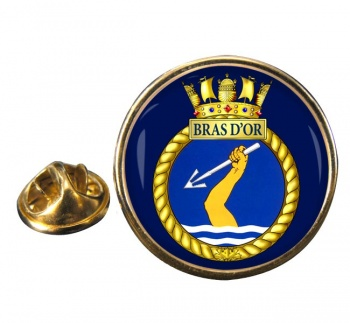 HMCS Bras d'Or Round Pin Badge