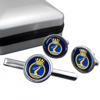 HMCS Bras d'Or Round Cufflink and Tie Clip Set