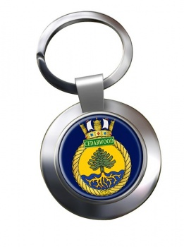 HMCS Cedarwood Chrome Key Ring