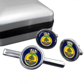 HMCS Cedarwood Round Cufflink and Tie Clip Set