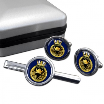 HMCS Corner Brook Round Cufflink and Tie Clip Set