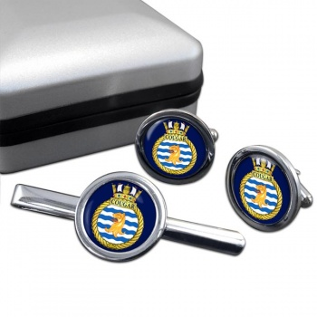 HMCS Cougar Round Cufflink and Tie Clip Set