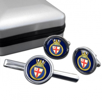 HMCS Crusader Round Cufflink and Tie Clip Set