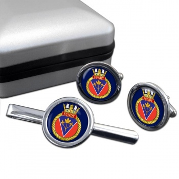 HMCS Fundy Round Cufflink and Tie Clip Set