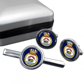 HMCS Moresby Round Cufflink and Tie Clip Set