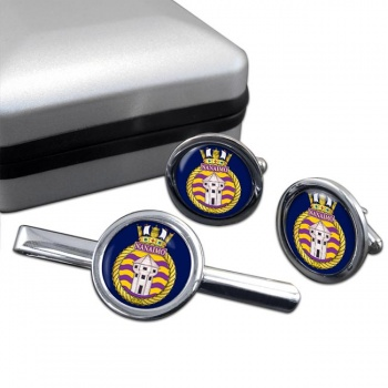 HMCS Nanaimo Round Cufflink and Tie Clip Set