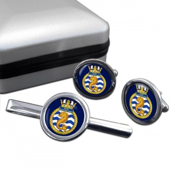 HMCS New Waterford Round Cufflink and Tie Clip Set