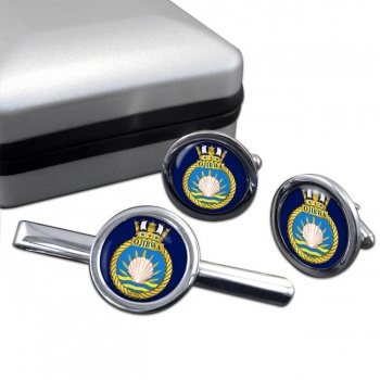 HMCS Ojibwa Round Cufflink and Tie Clip Set
