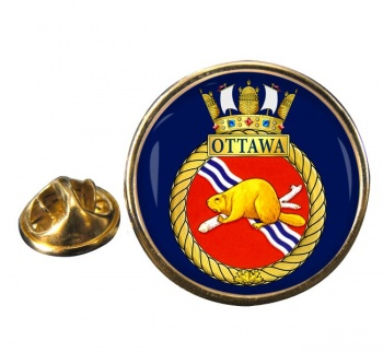 HMCS Ottawa Round Pin Badge