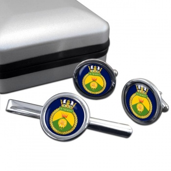HMCS Outremont Round Cufflink and Tie Clip Set