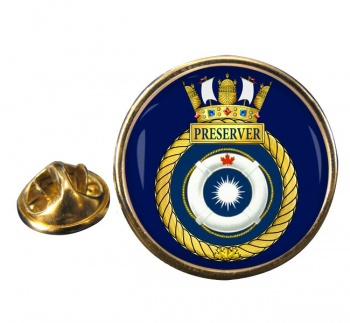 HMCS Preserver Round Pin Badge