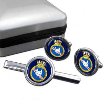HMCS Qu'Appelle Round Cufflink and Tie Clip Set