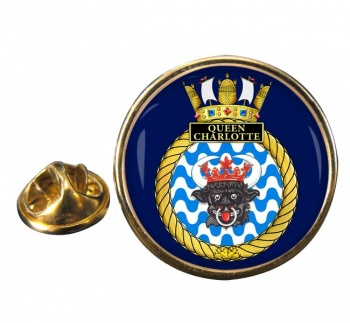 HMCS Queen Charlotte Round Pin Badge