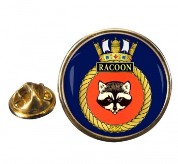 HMCS Racoon Round Pin Badge