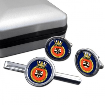 HMCS Racoon Round Cufflink and Tie Clip Set