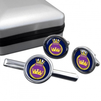 HMCS Regina Round Cufflink and Tie Clip Set