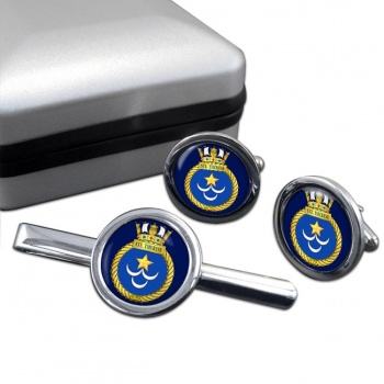 HMCS Sainte Therese Round Cufflink and Tie Clip Set