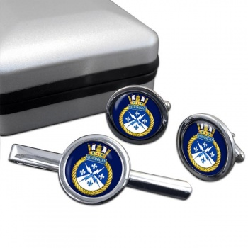 HMCS Shawinigan Round Cufflink and Tie Clip Set