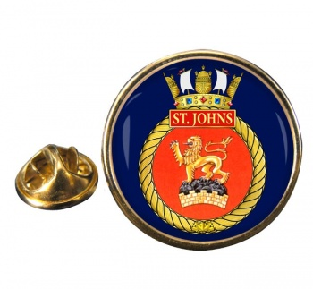 HMCS St. Johns Round Pin Badge