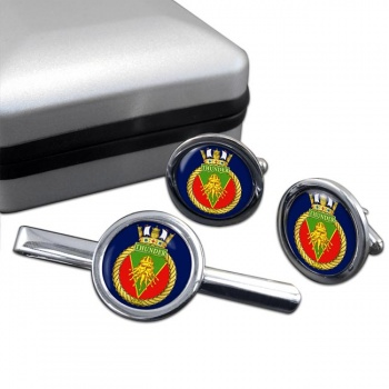 HMCS Thunder Round Cufflink and Tie Clip Set
