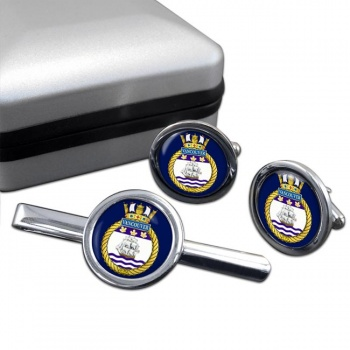 HMCS Vancouver Round Cufflink and Tie Clip Set