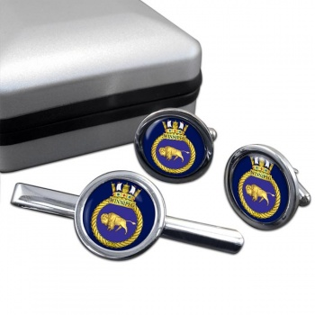 HMCS Winnipeg Round Cufflink and Tie Clip Set