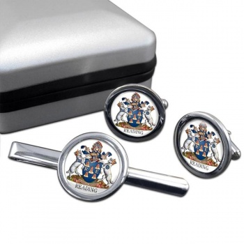 Reading (England) Round Cufflink and Tie Clip Set