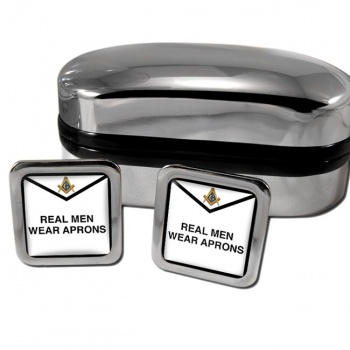 Real Men Wear Aprons Masonic Square Cufflinks