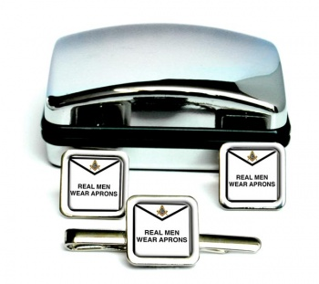 Real Men Wear Aprons Masonic Square Cufflink and Tie Clip Set