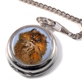 Red Persian Cat Pocket Watch
