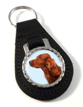Irish Red Setter Leather Key Fob