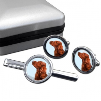 Irish Red Setter  Cufflink and Tie Clip Set