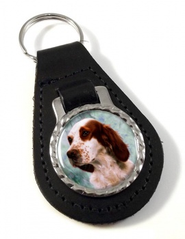 Irish Red and White Setter Leather Key Fob