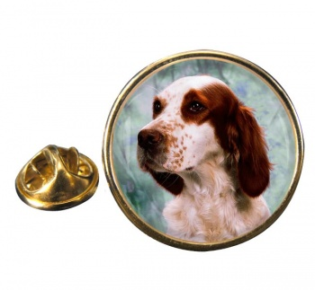 Irish Red and White Setter Round Pin Badge