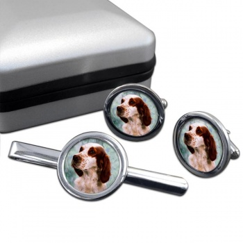 Irish Red and White Setter  Cufflink and Tie Clip Set