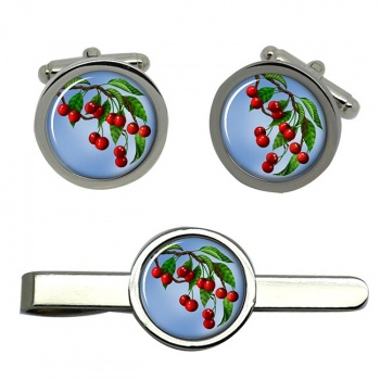 Cherry Tree Round Cufflink and Tie Clip Sert