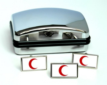 Red Crescent Rectangle Cufflink and Tie Pin Set