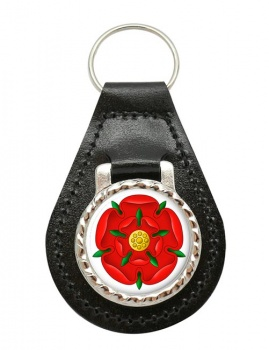 Red Rose of Lancaster Leather Key Fob