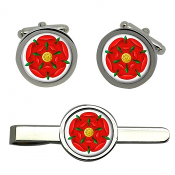 Red Rose of Lancaster Round Cufflink and Tie Clip Sert