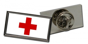 Red Cross Rectangle Tie Pin