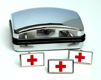 Red Cross Rectangle Cufflink and Tie Pin Set