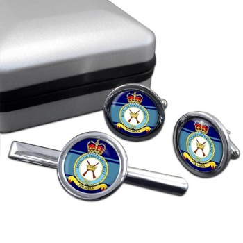 Royal Air Force Regiment Round Cufflink and Tie Clip Set